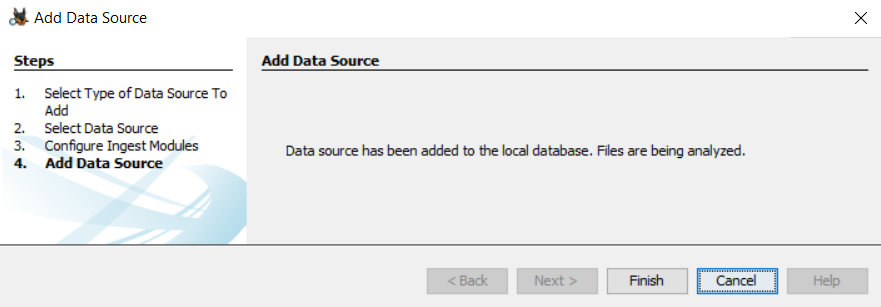 Autospy added the datasource to the database
